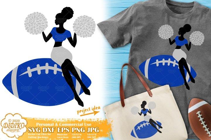 Black Woman SVG | Football SVG | Cheerleader SVG| Afro Woman
