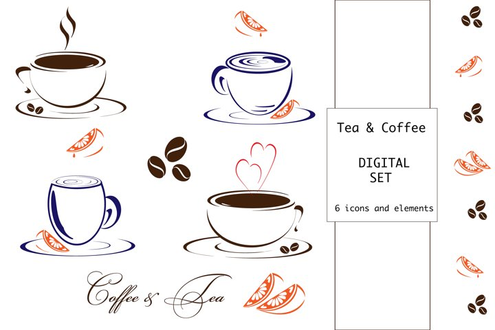 Coffee and Tea Digital icon set