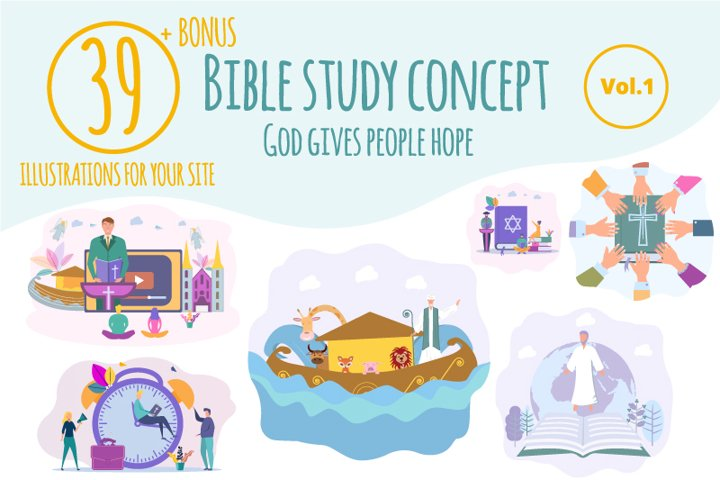 Creative library of 39 illustrations with bible study