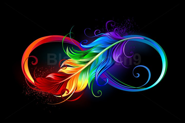 Infinity with rainbow feather on black background