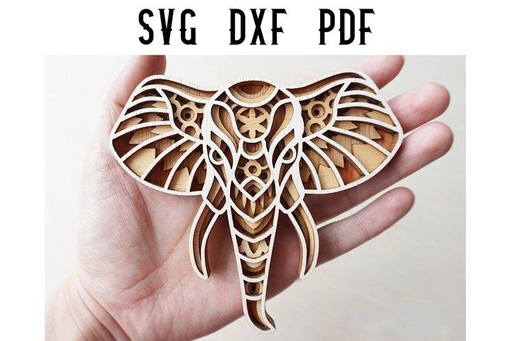 Elephant Layered Mandala Laser Cut File - SVG / DXF