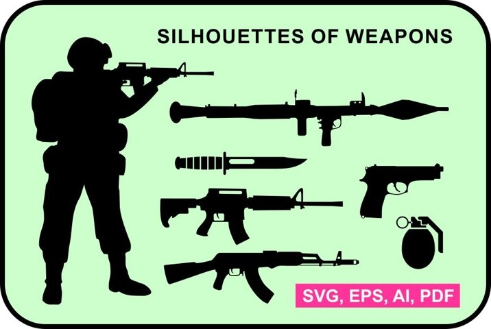 Set of weapon silhouettes