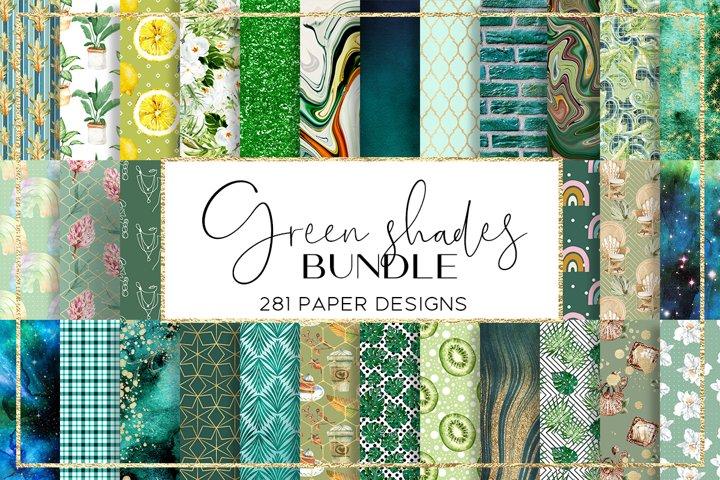 Green Shades BUNDLE digital paper pattern