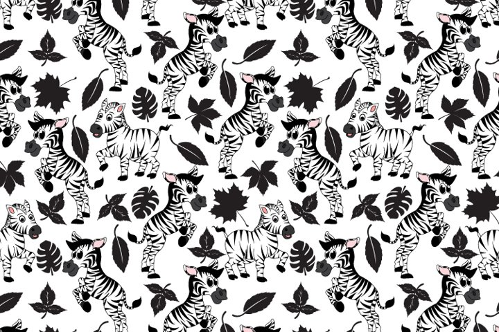 zebra cartoon seamles pattern, copy space