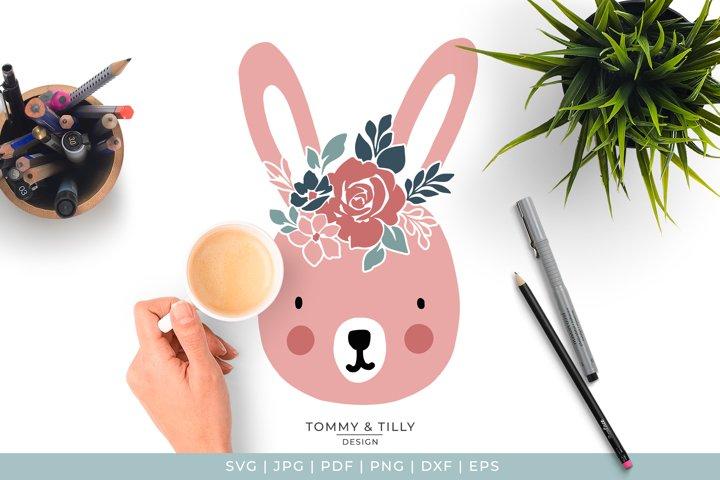 Cute Easter Floral Rabbit - Cute Nursery Kids SVG Cut File example 1