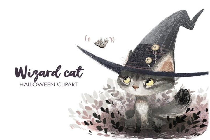 Halloween felt witch hat clipart - Cute wizard clipart