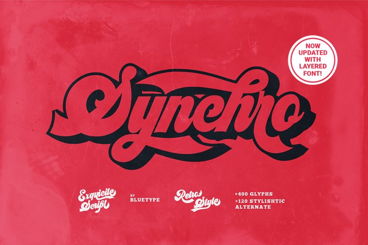 Synchro   Retro Bold Script  UPDATED With Extruded Font