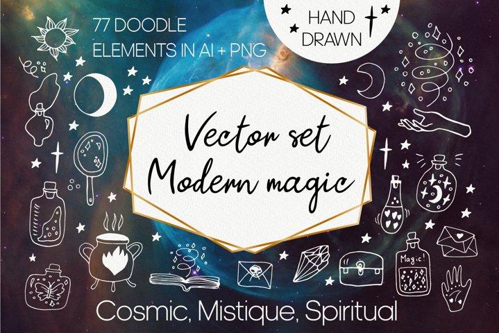 Celestial clip art vector set. Modern magic, wizard clipart
