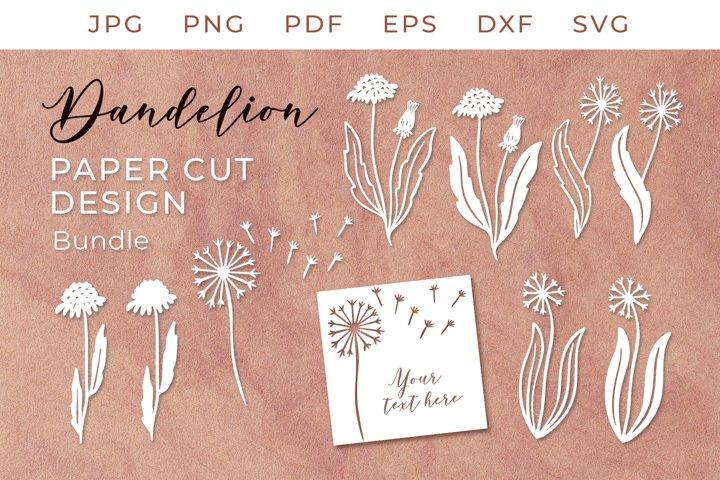 Dandelion SVG, Dandelion Paper Cut Design, Dandelion BUNDLE
