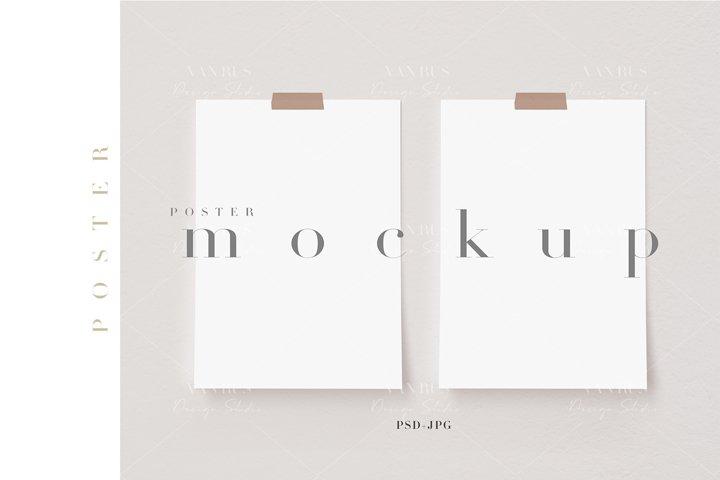 A4,A3 Poster Mockup/Taped Digital Poster Display/JPG PSD/N15