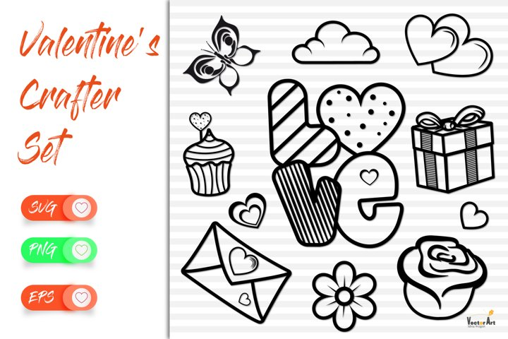 Love and Valentine - 11 Elements - Cut files