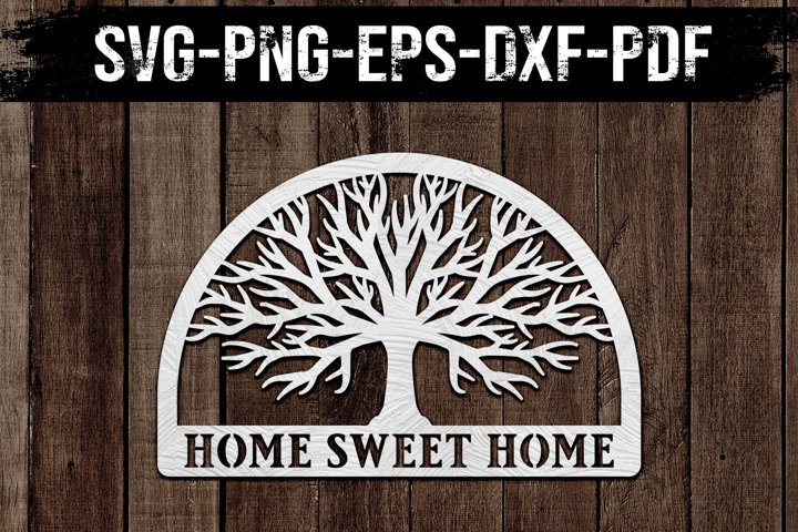 Home Sweet Home Tree, Paper Cut Template, SVG, DXF, PDF