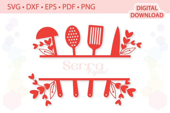 Split Kitchen Utensils cut files SVG DXF EPS PDF PNG
