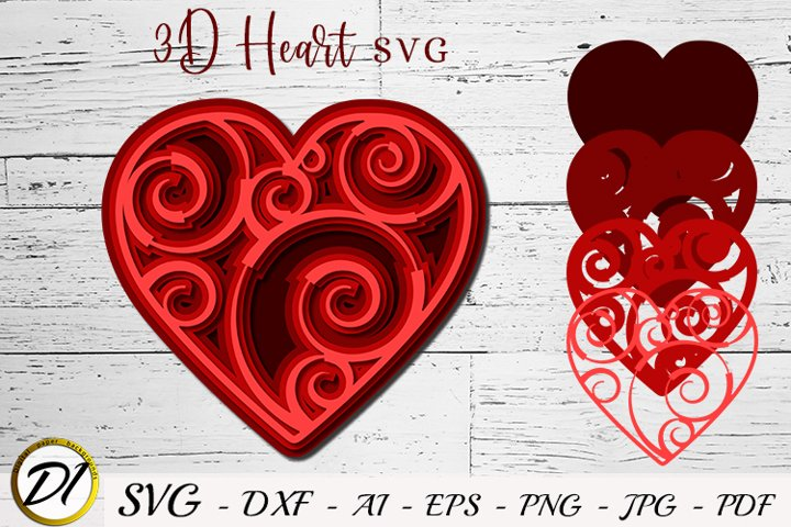 3D Heart SVG. Valentine Cut File. Multilayer Heart.
