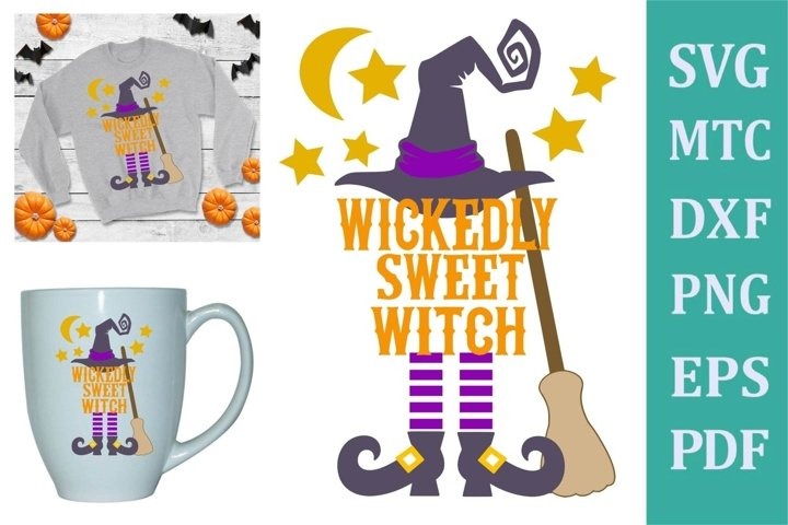 Wickedly Sweet Witch Halloween Design #02 Craft SVG Cut File