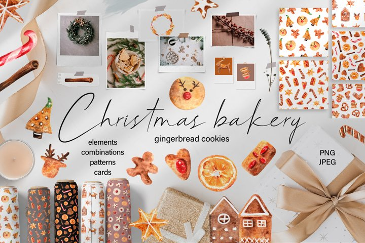 Christmas Bakery Watercolor Clipart. Patterns, holiday cards
