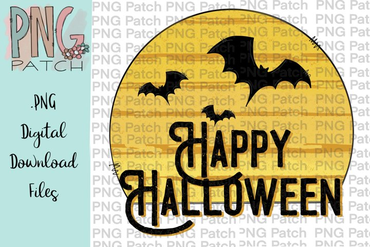 Happy Halloween with Moon and Bats, Halloween PNG File