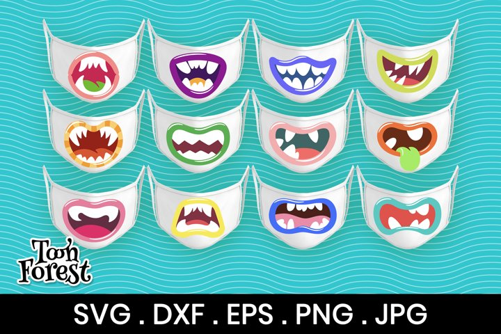 12 Monster mouths SVG, DXF, EPS, PNG cut files for face mask