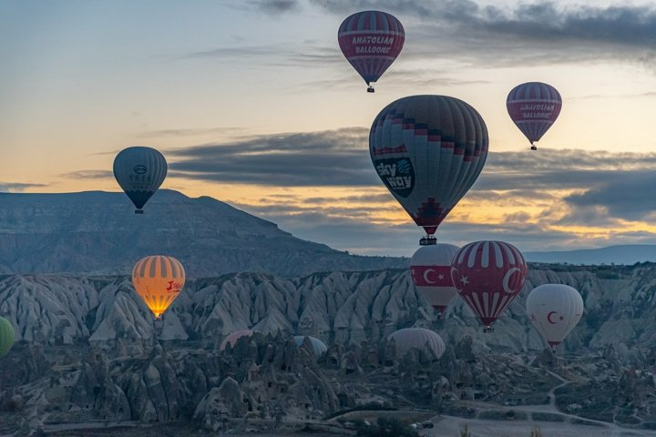 Hot air balloons in Cappadocia. Adventure travel wall art