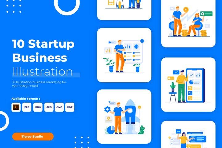 Startup Business Flat Vector Illustration Set