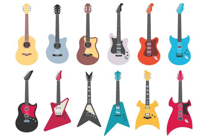 Flat guitars. Electric rock guitar, acoustic jazz and metal