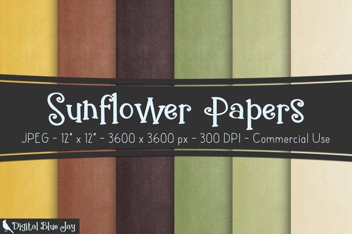 Digital Scrapbook Paper Textured Backgrounds - Sunflower