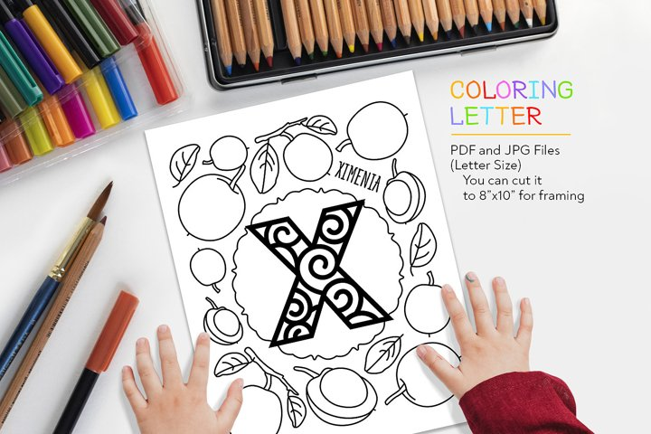 Letter X - Ximenia Coloring Page