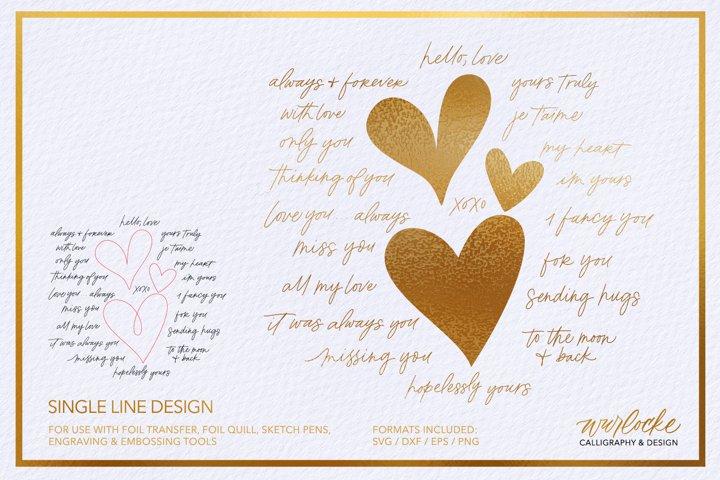 SVG Single Line Foil Valentines Love Sentiments