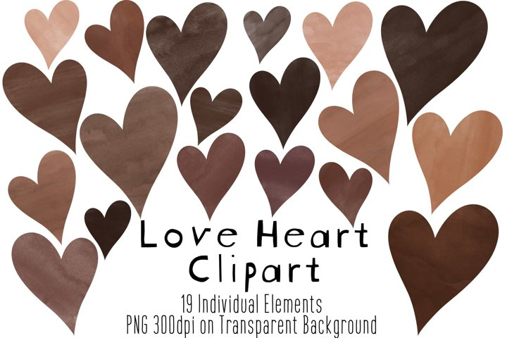 Watercolor Love Hearts Clipart, Brown, Nude, Skin Tones, PNG