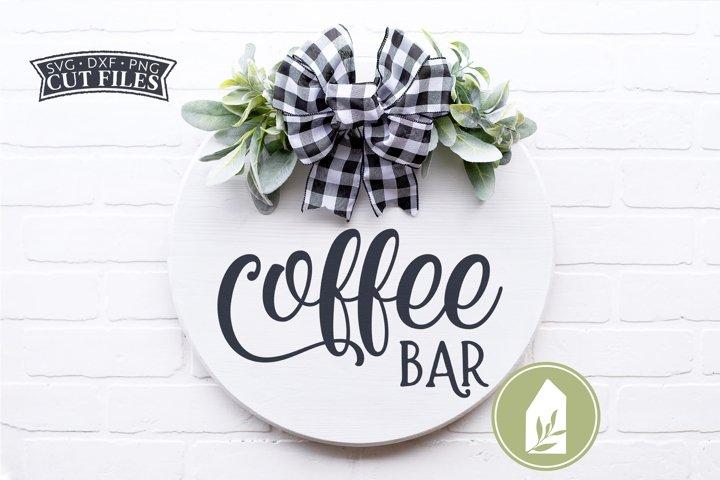 Coffee Bar SVG Files, Round Sign SVG