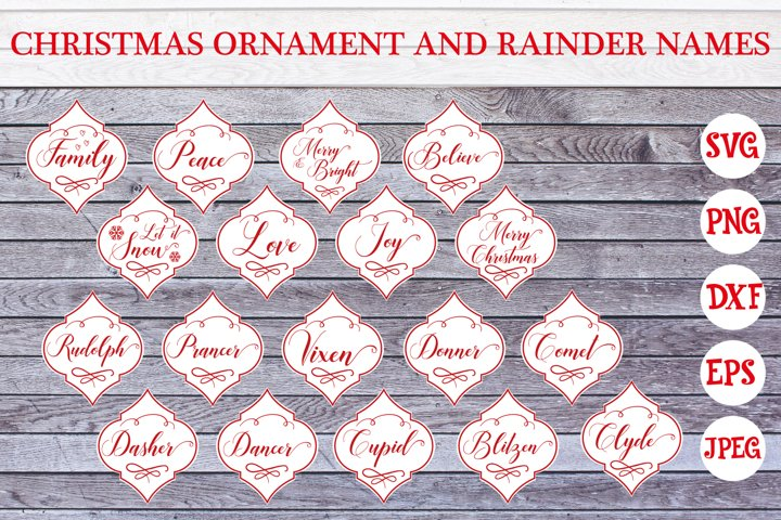 Christmas Ornament | Reindeer Names | Svg Cut Files