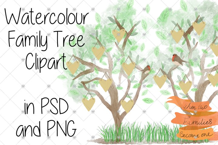 Family Tree clipart, Watercolour clipart, Tree clipart,