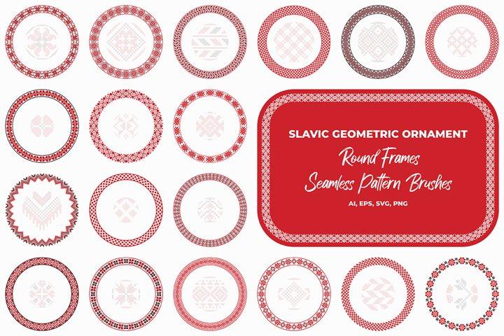 Slavic geometric round ornaments