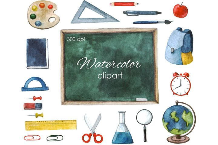 Back to School Clipart. Watercolor first day of school