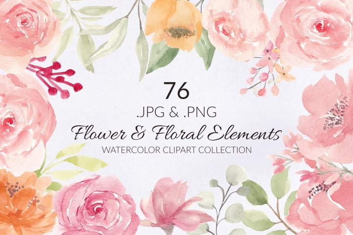 76 Flower and Floral Watercolor Illustration Clip Art