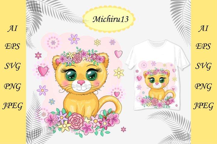 Cute cartoon orange lioness, bright eyes
