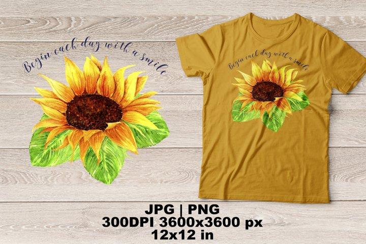 Sunflower Watercolor Sublimation Design