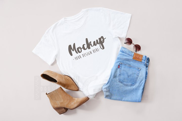 Basic Tshirt Mockup Bella Canvas 3001 Flat Lay White Tshirt