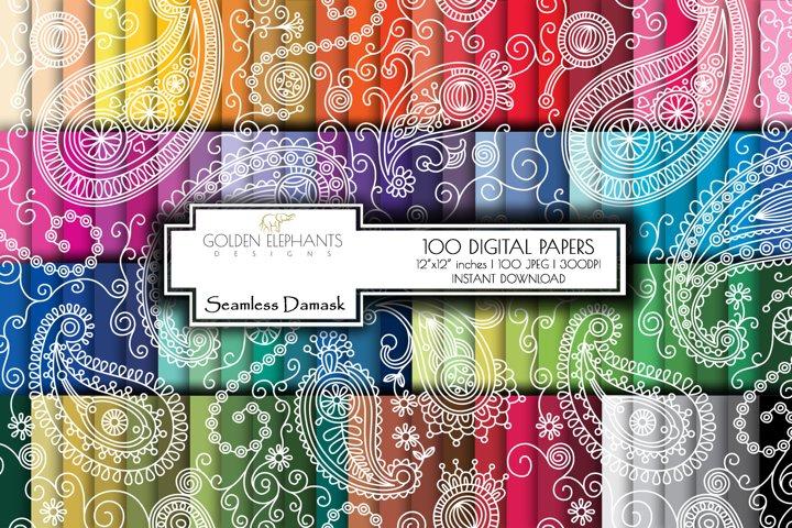 100 Seamless Paisley Digital Paper