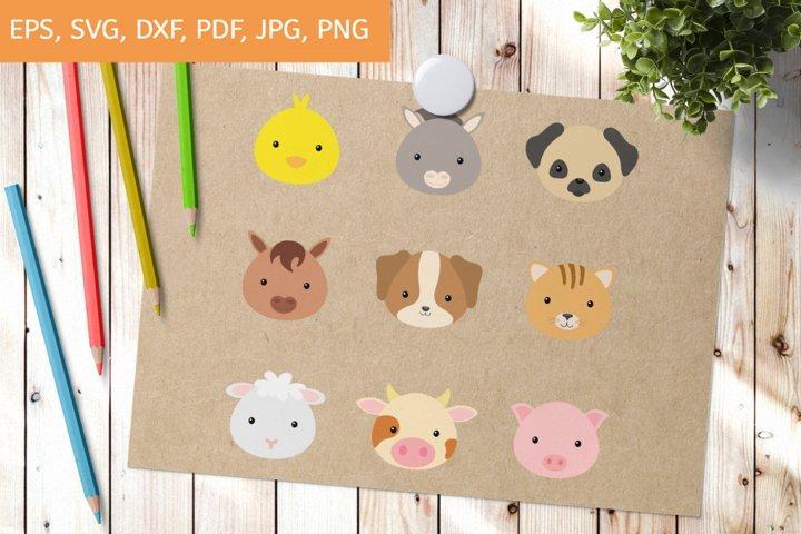 Cutting File Cute Animal Heads SVG, Clipart Cut Files