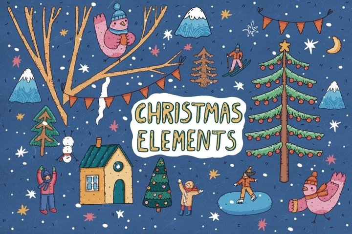 Christmas Hand Drawn Elements Vector Graphics