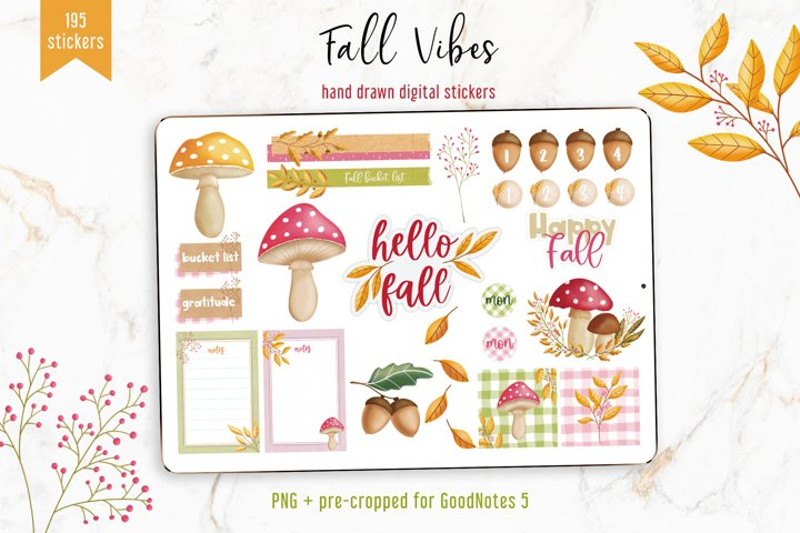 Fall Vibes ClipArt and Digital Stickers for GoodNotes 5