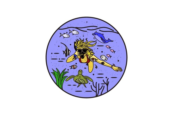 young girl diving in underwater
