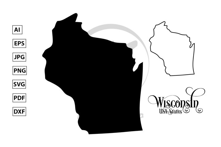 Map of The United States of America. USA State of Wisconsin