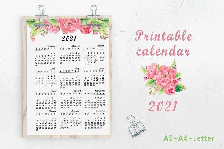 Printable watercolor floral calendar 2021
