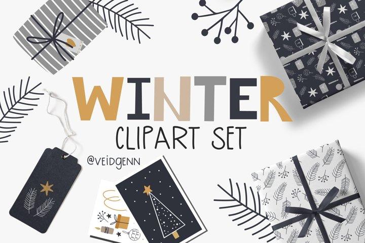 Big winter clipart set - 42 christmas elements