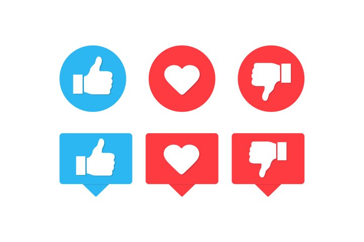 Thumbs up and down with heart like icons