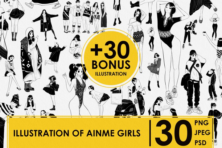 BONUS. ILLUSTRATION 30. ANIME GIRLS. MANGA GIRLS. DIGITAL
