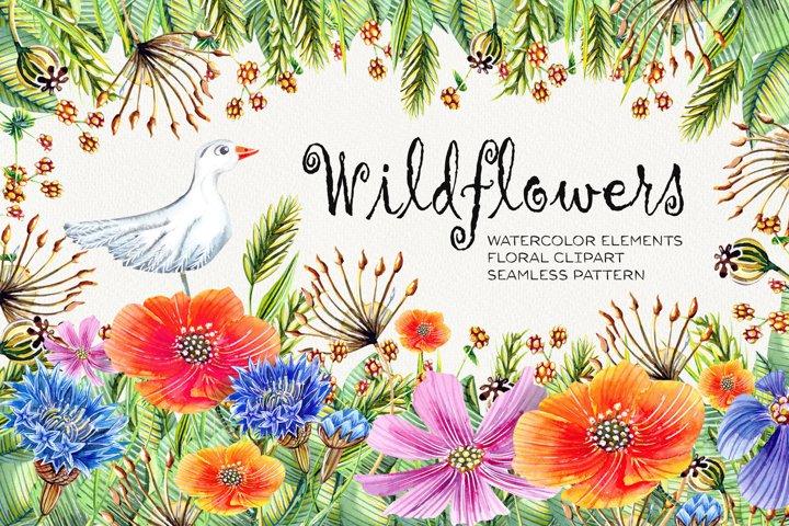 Watercolor Wildflowers Clip Art