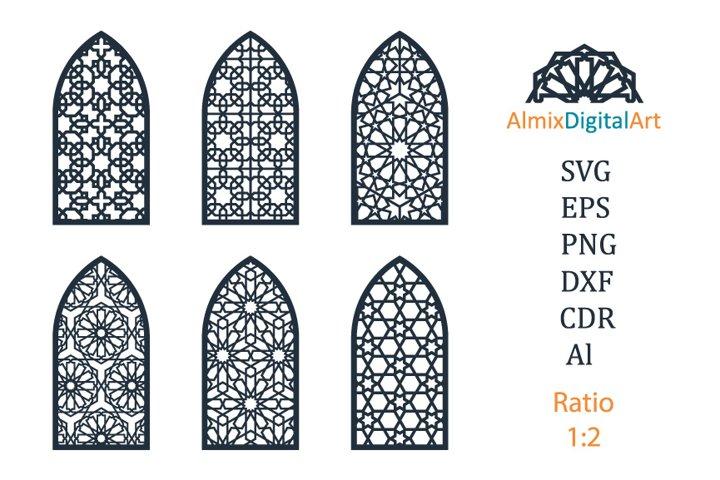 Islamic, arabic arch window,door svg dxf.Cut out,cnc, vector
